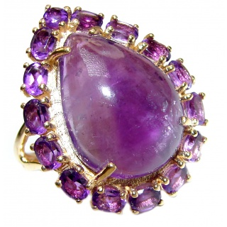 Large Genuine Amethyst .925 Sterling Silver handcrafted Statement Ring size 8 1/4