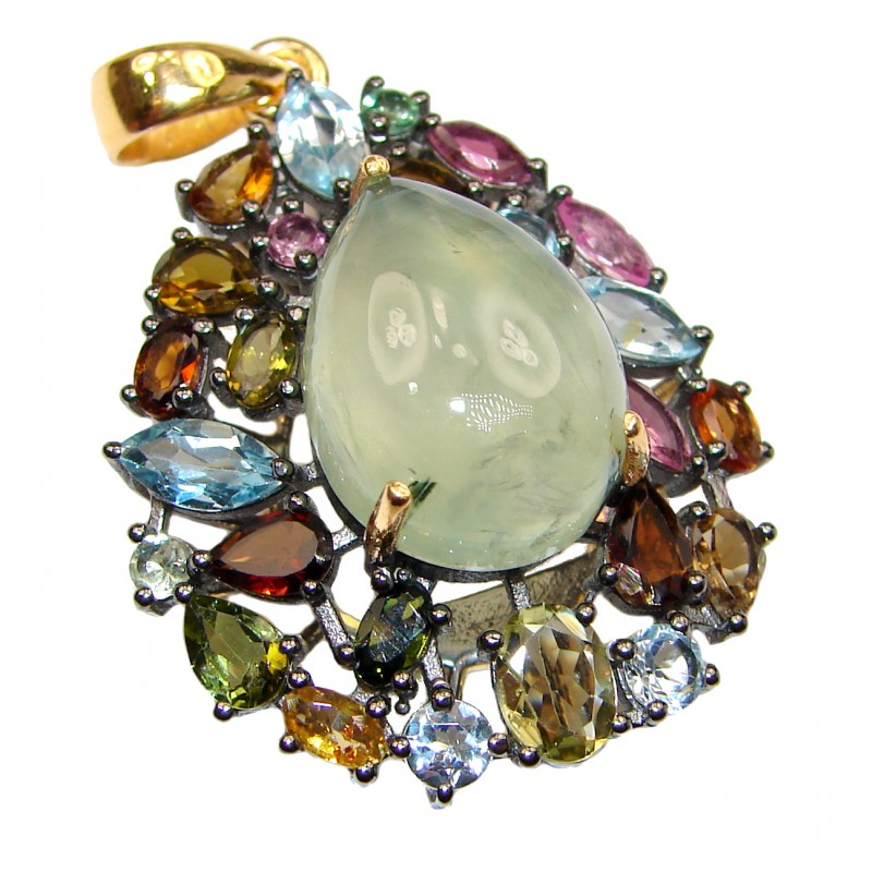 Beautiful genuine Prehnite 18K Gold over .925 Sterling Silver handcrafted Pendant-