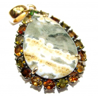 Incredible Ocean Jasper Tourmaline .925 Sterling Silver handmade pendant