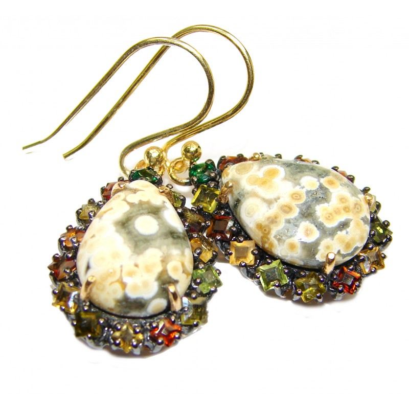 Sublime Authentic Ocean Jasper 24K Gold over .925 Sterling Silver handmade earrings