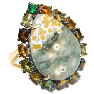 Great Ocean Jasper Tourmaline .925 Sterling Silver handcrafted Ring s. 7