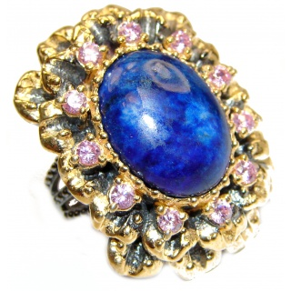 Large Natural Lapis Lazuli 18K Gold over .925 Sterling Silver handcrafted ring size 6 1/2