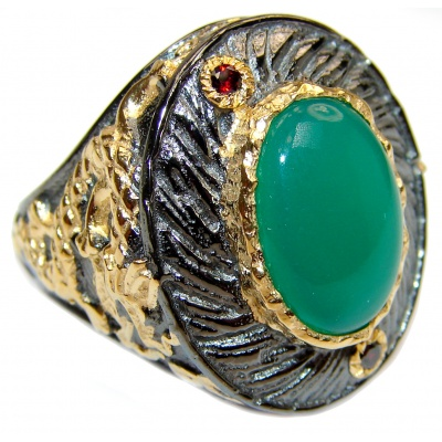 Spectacular Dragon Natural Jade .925 Sterling Silver handmade Statement ring s. 8 1/2