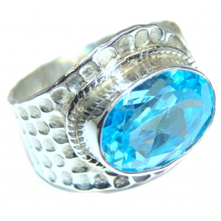Energizing genuine Swiss Blue Topaz .925 Sterling Silver handmade Ring size 8 adjustable