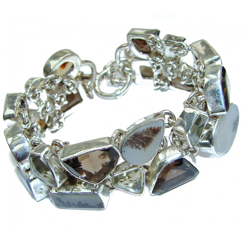 Gallery Piece Fabulous Scentic Agate .925 Sterling Silver handcrafted bracelet