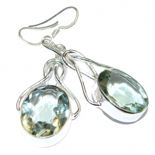 Incredible lab. Green Quartz .925 Sterling Silver earrings