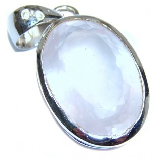 Oval cut 46ct Rose Quartz .925 Sterling Silver handcrafted Pendant