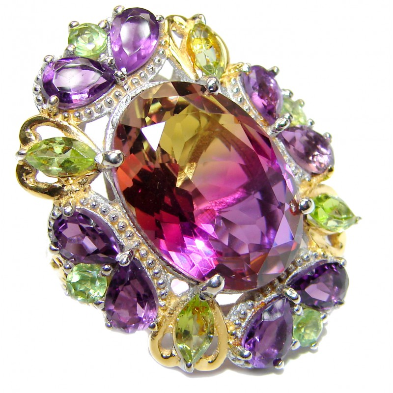 HUGE Oval cut BI-color Ametrine .925 Sterling Silver handcrafted Ring s. 6