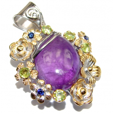 Back to Nature Amethyst 18K Gold over .925 Sterling Silver handcrafted pendant