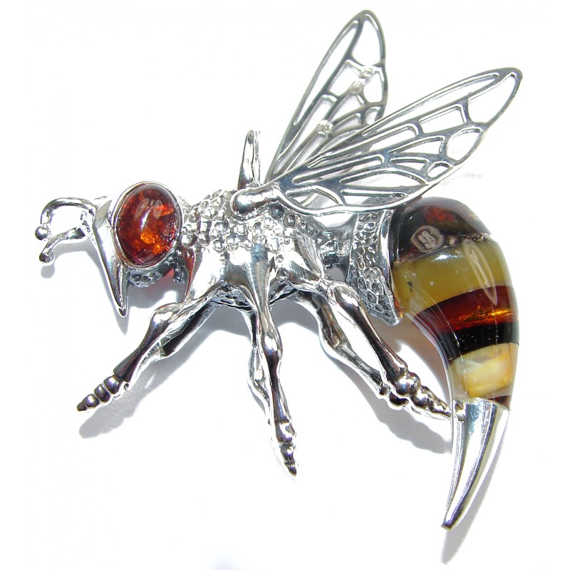 Large Masterpiece Honey Bee Baltic Polish Amber .925 Sterling Silver Handmade Pendant