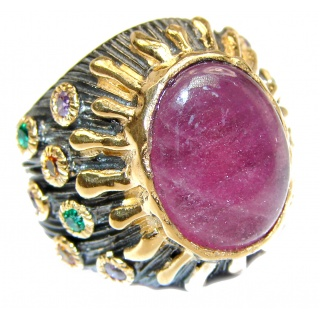 LARGE Genuine Ruby 18K Gold over .925 Sterling Silver handmade Cocktail Ring s. 6