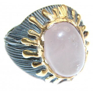 Large Authentic Rose Quartz 18K Gold over .925 Sterling Silver handcrafted ring s. 8