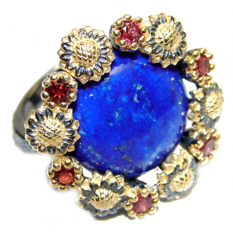 Natural Lapis Lazuli 18K Gold over .925 Sterling Silver handcrafted ring size 7 1/2