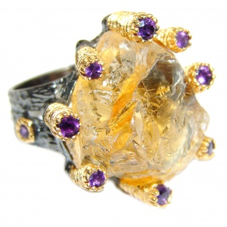 Jumbo! Vintage Style Rough Citrine.925 Sterling Silver handmade Cocktail Ring s. 6