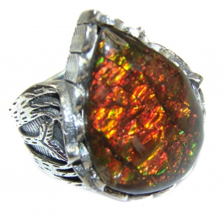 Pure Energy Genuine Canadian Ammolite .925 Sterling Silver handmade ring size 8 1/4