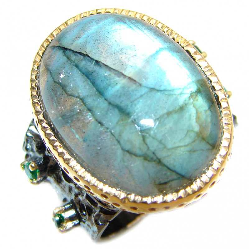 Fire Labradorite 18K Gold over .925 Sterling Silver handmade ring size 7