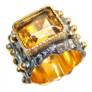 Vintage Style 9ct Natural Citrine 18ct Gold over .925 Sterling Silver handcrafted Ring s. 5 3/4