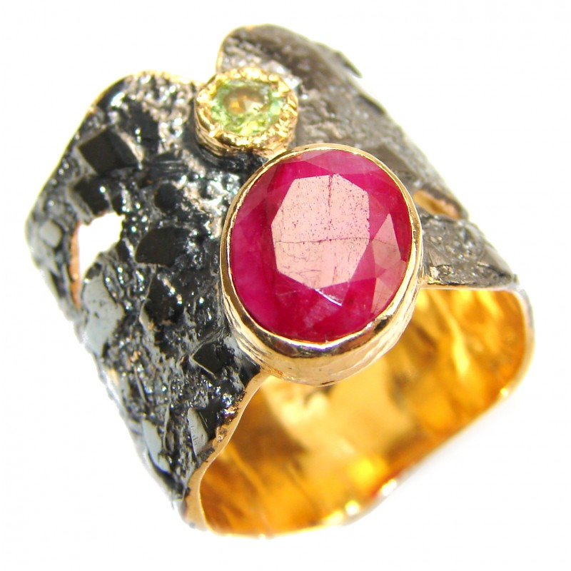 Large genuine Ruby 18K Gold over .925 Sterling Silver Statement Italy made ring; s. 7 1/2