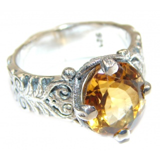 Vintage Style Natural Citrine 14K Gold over .925 Sterling Silver handcrafted Ring s. 7
