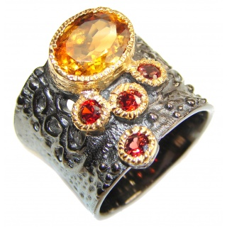 Vintage Style 10ctw Natural Citrine 14ct Gold over .925 Sterling Silver handcrafted Ring s. 7