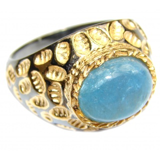 Spectacular genuine Aquamarine 18K Gold over .925 Sterling Silver handmade ring s. 8