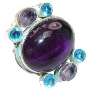 Large Spectacular genuine Amethyst .925 Sterling Silver handcrafted Ring size 8 3/4