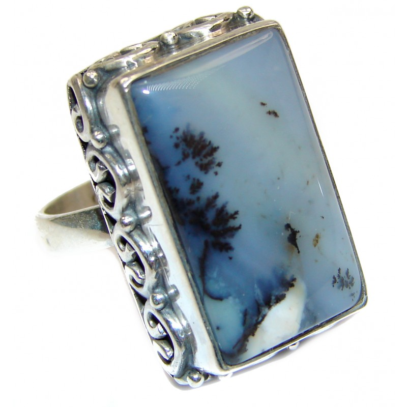 Top Quality Dendritic Agate .925 Sterling Silver hancrafted Ring s. 6 1/4