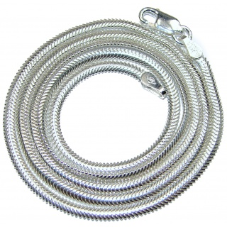 Snake Rhodium OVER Sterling Silver Chain 20'' long, 3 mm wide