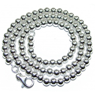 Fancy Silver Beads Sterling Silver Chain 18'' long, 5 mm wide