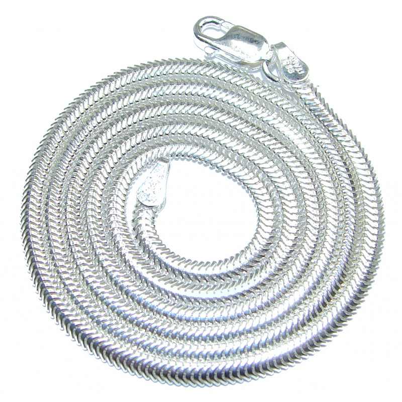 Snake Rhodium OVER Sterling Silver Chain 18'' long, 3 mm wide