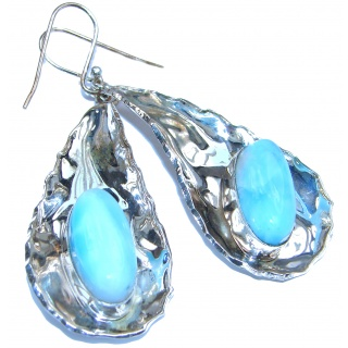 Large Sublime genuine Blue Larimar hammered .925 Sterling Silver handmade earrings