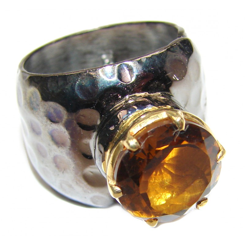 Genuine Smoky Topaz .925 Sterling Silver handcrafted Statement Ring size 7
