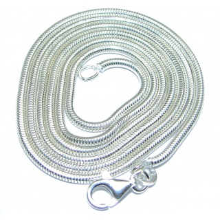 Round Snake .925 Sterling Silver Chain 22'' long, 3 mm wide