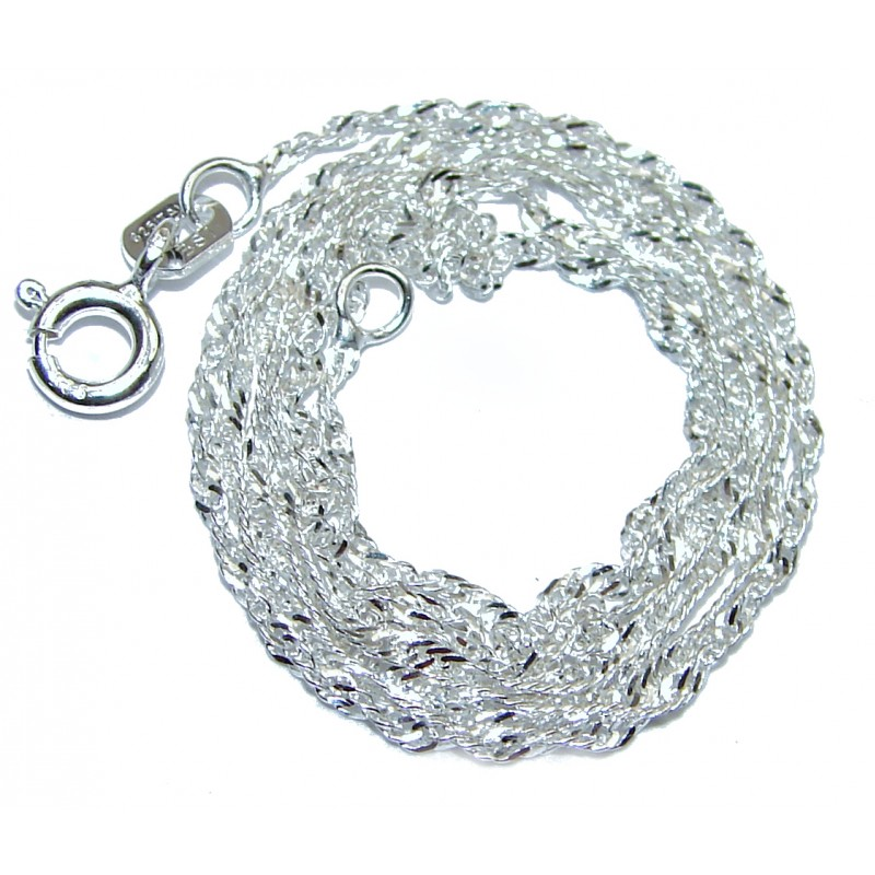 Singapore design Sterling Silver Chain 18'' long, 1 mm wide