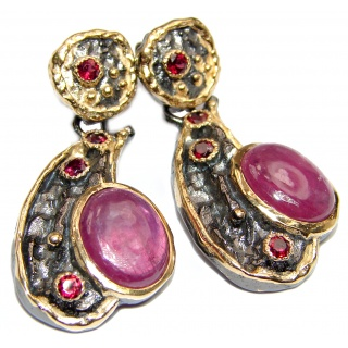 Juicy authentic Ruby 18k Gold over .925 Sterling Silver handmade Earrings