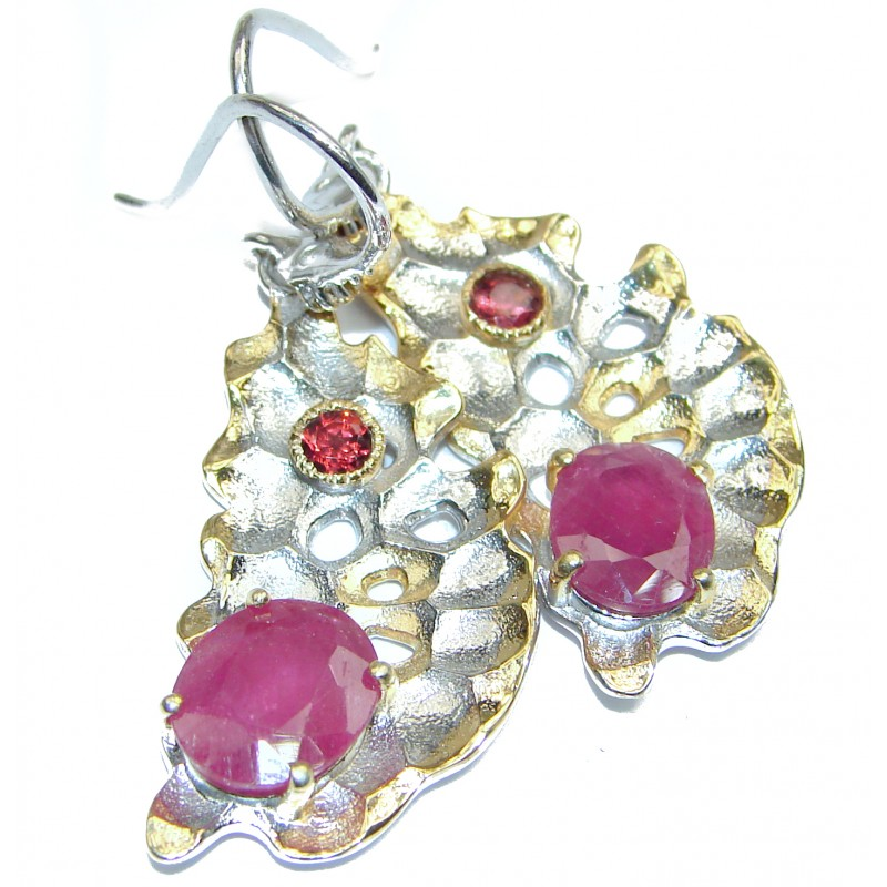 Authentic Ruby 18K Gold .925 Sterling Silver handmade earrings