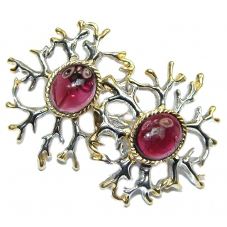 Authentic 7.5ctw Garnet 18K Gold over .925 Sterling Silver handmade earrings