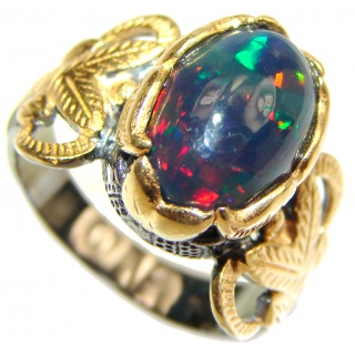 Vintage Design Genuine Black Opal 24K Gold over .925 Sterling Silver handmade Ring size 7 1/4