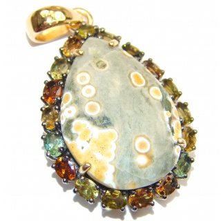 Incredible Ocean Jasper Tourmaline 18k Gold over .925 Sterling Silver handmade pendant