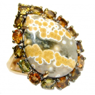 Great Ocean Jasper Tourmaline .925 Sterling Silver handcrafted Ring s. 6 1/4