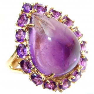 Large Genuine Amethyst 18K Gold over .925 Sterling Silver handcrafted Statement Ring size 7