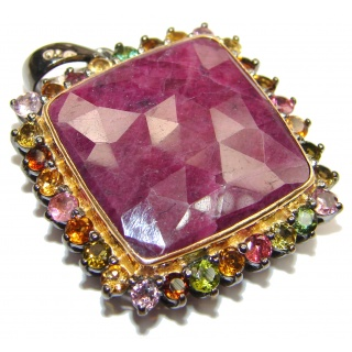 Vintage Design 45ctw Ruby Tourmaline 18k Gold over .925 Sterling Silver handmade Pendant