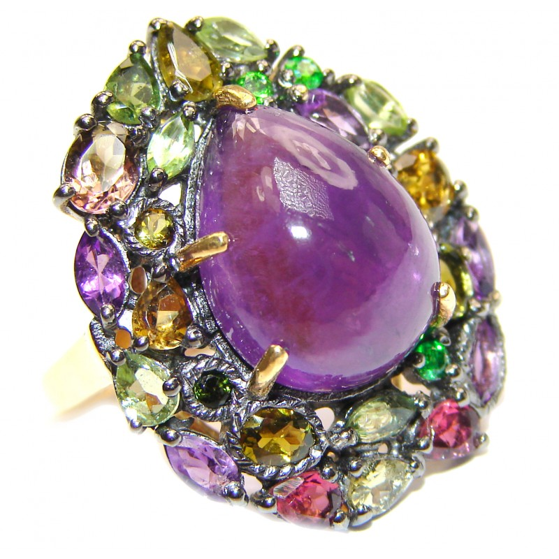 Natural Amethyst 18K Gold over .925 Sterling Silver handmade ring s. 7
