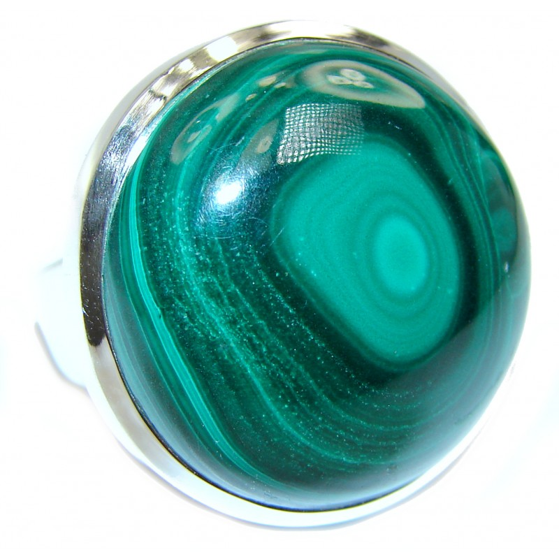 Natural Sublime quality Malachite .925 Sterling Silver handcrafted ring size 8 1/2