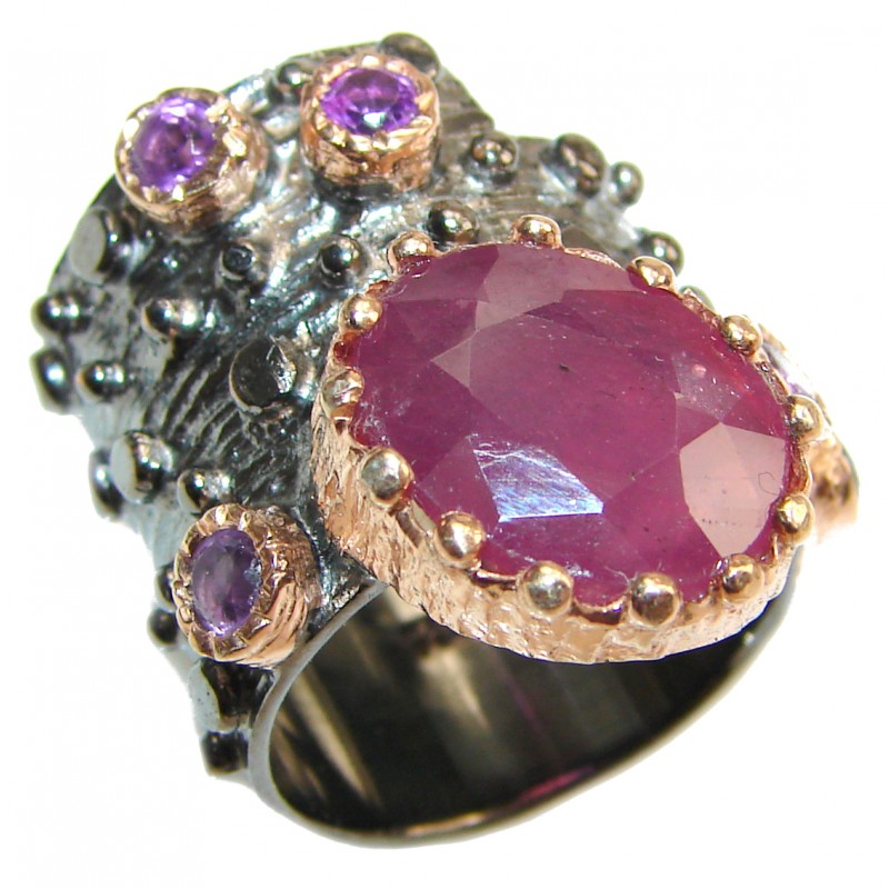 Large genuine Ruby 18K Gold over .925 Sterling Silver Statement Italy made ring; s. 5 1/2