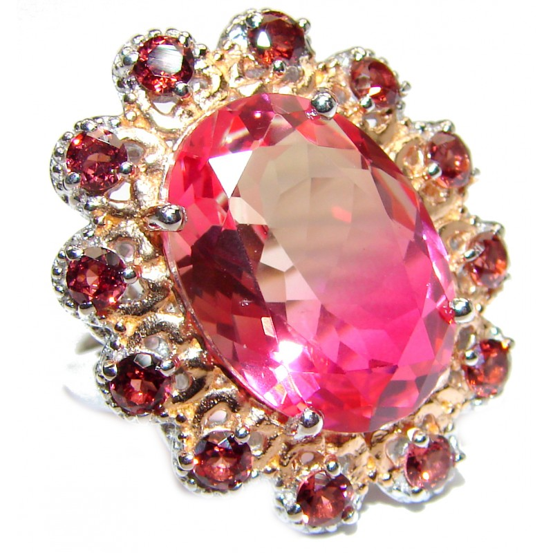 HUGE Top Quality Magic Volcanic Pink Topaz 18K Gold over .925 Sterling Silver handcrafted Ring s. 8