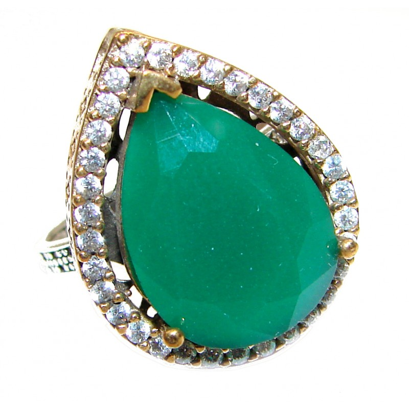 Victorian Style created Emerald & White Topaz Sterling Silver Ring s. 8 1/2