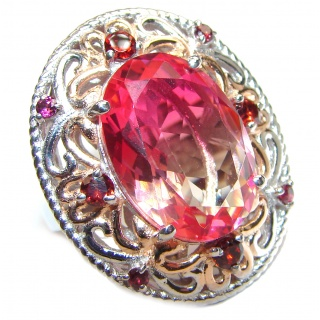 Huge Top Quality Volcanic Pink Tourmaline 18 K Gold over .925 Sterling Silver handcrafted Ring s. 8