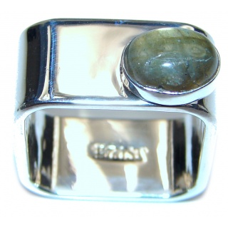 Blue Aura Fire Labradorite hammered Sterling Silver ring size 7