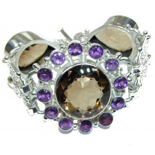 LARGE Get Glowing CHAMPAGNE Quartz .925 Sterling Silver handcrafted Bracelet